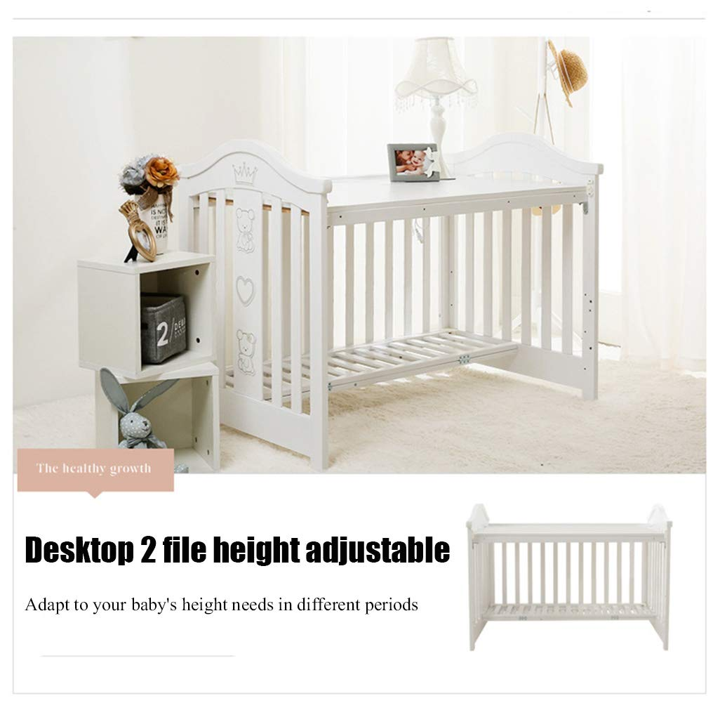 XUNMAIFLB Removable Toddler Bed, Wooden Baby Cot Bed, Crib, Solid Wood Splicing Bed, Cradle Bed (outer Diameter: 126.5 * 73.5 * 104cm/inner Diameter: 120 * 65cm) Safety XUNMAIFLB 6-12 months: The bed of the growing bed is adjusted to a safe depth of 2 blocks to protect the baby during the crawling period. 0-6 months newborn bed: 55.5cm scientific height, no need to deep bend, reduce spinal strain. More than 18 months: the sofa chair/teen bed sidebar removes the half-guard bed and cultivates the baby's ability to fall asleep independently. Can also be used as a sofa chair! 4