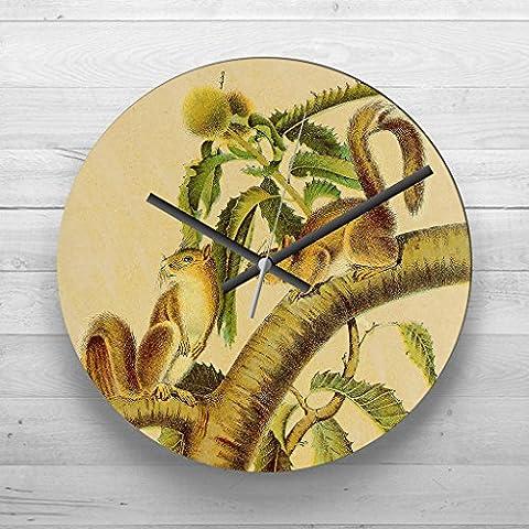 Large 32cm Analog Wall Clock - Vintage Carolina grey squirrels - Silent Non-Ticking Quartz Movement - FREE