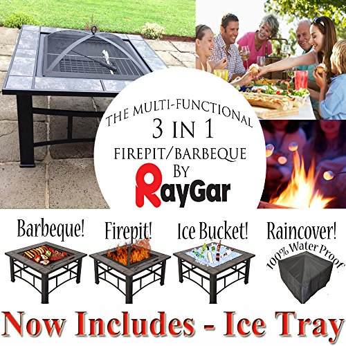 RayGar FP44 Multifunctional 3 in 1 Outdoor Garden Square Fire Pit BBQ Ice Pit Patio Heater Stove Brazier Metal Firepit + Protective Cover (Now Includes Ice Tray) - New (FP44)