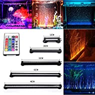 GreenSun Fish Tank Light Waterproof Aquarium Lights Remote Control 5050 LED Colour Changing Air Bubble lights with 24key controller for Fresh and Saltwater Aquarium 46cm/18.1inch