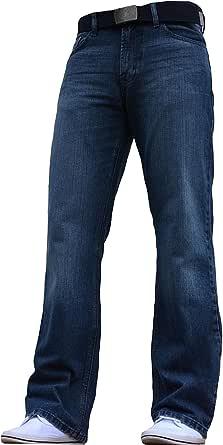 BNWT Men's Wide Leg Bootcut Flared Blue Heavy Denim Jeans