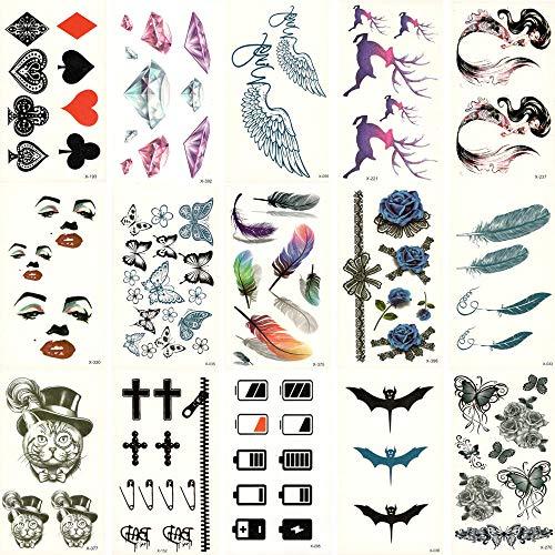fkleber 15 Stücke Gefälschte Temporäre wasserdichte Tattoo Wassertransfer Bunte Blume Schmetterling Aufkleber Schönheit Kunst Live of Song ()