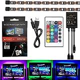 SUROM retroiluminación LED TV (2 x 50cm), 5050RGB Kit de tira de luces LED USB Flexible cinta adhesivas en la parte trasera con control remoto inalámbrico para TV de pantalla plana LCD computadora de escritorio PC con cable USB de 5V, luz LED
