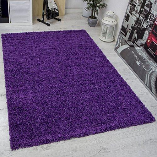 Prime Shaggy Teppich Lila Hochflor Langflor Teppiche Modern für Wohnzimmer Schlafzimmer Einfarbig - VIMODA, Maße:70x250 cm