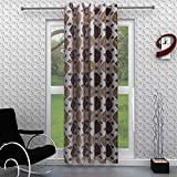 Homely Polyester Motif Door Curtain - 7 ft, Coffee
