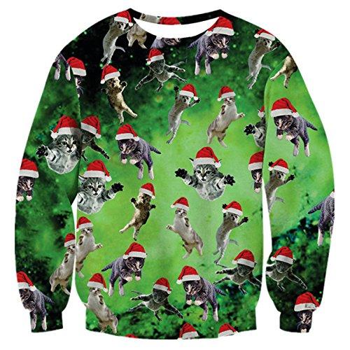 Uideazone 3d gedrucktes Katze-Fliegen-Hemd-jugendlich lustiges hässliches Weihnachtsstrickjacke-Grün,Asia S= EU XS