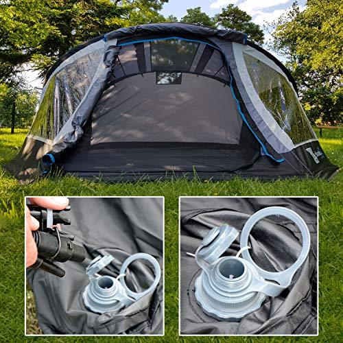 skandika Easy Air 3 XL | Aufblasbares Zelt mit Air Tubes | 3 Personen | Moskitonetze an Schlafkabine und Lüftung | Aufrollbare Dachabdeckung | 3.000mm Wassersäule | Eingenähter Zeltboden - 3