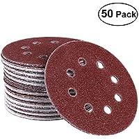 UEETEK 50pcs papeles de lija,8 agujero 12.5CM gancho y bucle discos de lija 40 papel de lija de arena hojas de lija almohadillas circulares