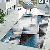 Designer Alfombra Moderna Salón pelo corto Alfombra Turquesa Crema Gris, polipropileno, gris, 160 x 220 cm