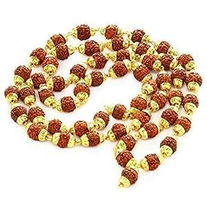 Ramneek jewels Rudraksha 5 Mukhi Japa Mala Rosary with Golden Cap (Brown)