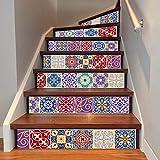 Kreative Haus Dekoration DIY Renovierung Wandaufkleber 3D Arabischen Stil Bunte Fliesen Treppen Aufkleber 6 Stücke (39 4 Zoll × 7 Zoll)
