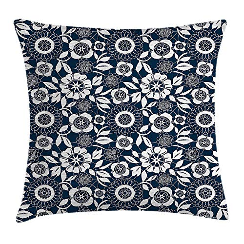 Navy Blue Throw Pillow Cushion Cover, Ornamental Crochet Flower Petals with Round Pattern Bohemian Victorian Style, Decorative Square Accent Pillow Case, 18 X 18 inches, Dark Blue White