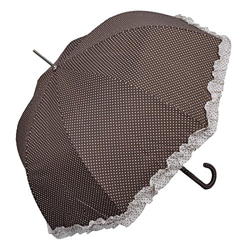 Clayre & Eef Schirm Regenschirm Pünktchen braun 93 cm