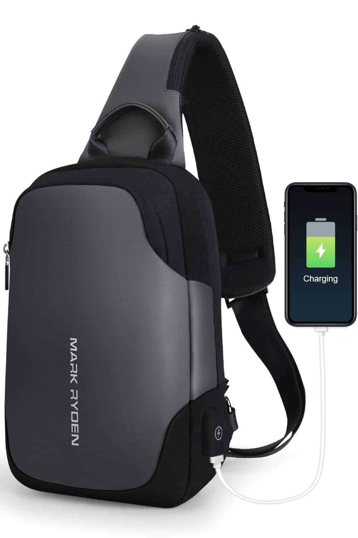 MARK RYDEN Bolso del Bolso del Pecho de la Honda Anti-Theft para los Hombres Bolso del Hombro del Viaje de Crossbody Impermeable Adaptado para 9.7″iPad …