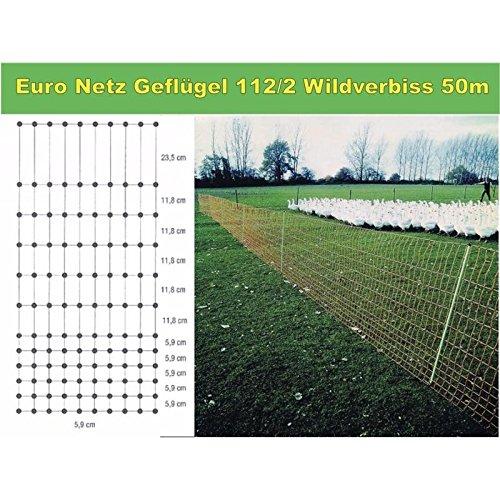 Göbel Weidezaun Elektrozaun Euro Netz Geflügel 50m lang 112cm hoch 15 Pfähle Doppelspitze mit Wildverbiss