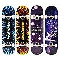 Skateboard Funboard Holzboard komplett 80x20cm mit Leuchtrollen 4 Motive NEU