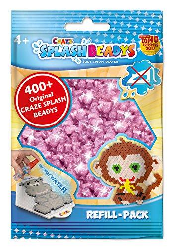 CRAZE- fusibles Fuse Beads Splash BEADYS Recambio de Reemplazo de Cuentas de Craft Set Pink Glitter Rose sin Calor 11577, Color Purpurina Rosa (
