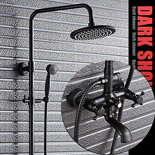 PLYY Duschsystem Badezimmer Top Regen Duschkopf + Hand Dusche Wasserhahn Set Öl gerieben Bronze Wand montiert