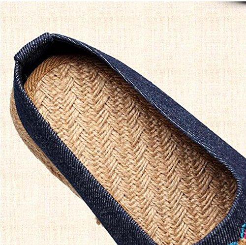 Pompa Lino Pantofole Mules Scarpe in tessuto Donne Punto chiuso Ricamo Opera di Pechino Piatto Antiscivolo Scarpe casual Formato Eu 35-40 jeans blue