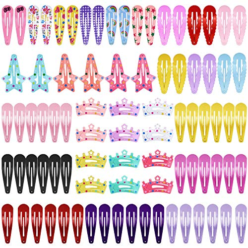Homgaty 80 Stk Haarspangen Haarklammer Hairclips aus Metall, 5 Arten, 28 Farben, für Kinder, Mädchen, Damen