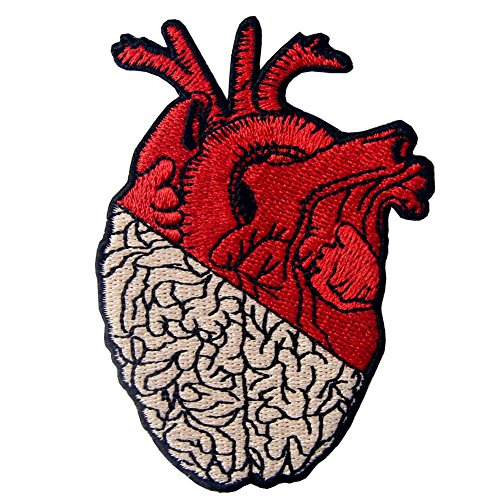 ZEGIN Aufnäher, Bestickt, Design: Herz & Gehirn, Zum Aufbügeln Oder Aufnähen