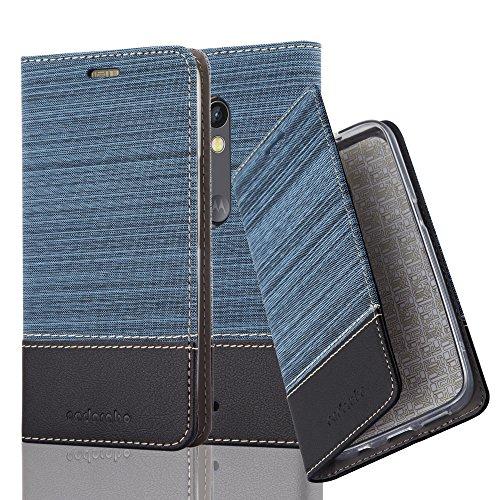 Cadorabo Hülle für Motorola Moto X Play - Hülle in DUNKEL BLAU SCHWARZ – Handyhülle mit Standfunktion und Kartenfach im Stoff Design - Case Cover Schutzhülle Etui Tasche Book