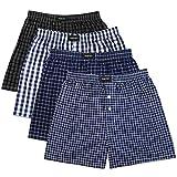 yiJiA 4/8er Pack Herren Boxershorts Webboxershorts Hipster American Style Boxer Herrenunterwäsche aus Baumwolle in Verschiedenen Farben, Karierte Unterwäsche (XL)