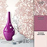 NEWROOM Tapete Beige Vliestapete Lila Floral, Modern schöne moderne und edle Design Optik , inklusive Tapezier Ratgeber