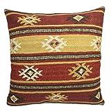 Fair Trade Kelim Kissen handgefertigt auf gewebt mit 80/20Wolle/Baumwolle und natürliche Farbstoffe Zanskar (, Textil, braun, 60 x 60