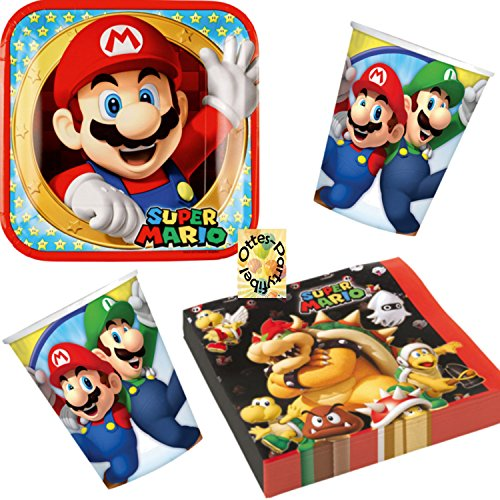 Super Mario Partyset 52tlg. Teller Becher Servietten für 16 ()