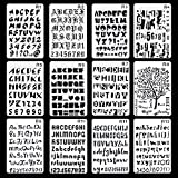 Aolvo Bullet Gazzetta stencil 12 pezzi incisione lettera stencil creative DIY disegno template multiuso Patterns plastica planner stencil per Journal/Notebook/Diary/scrapbook, bianco