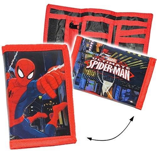 """Geldbörse – """" ultimate Spider-Man """" – Geldbeutel & Portemonnaie – für Kinder – Geld – Jungen – Geldtasche Geld – Spiderman – Kindergeldbörse Spinne / Brustbeutel – für Schule & Schulranzen"""