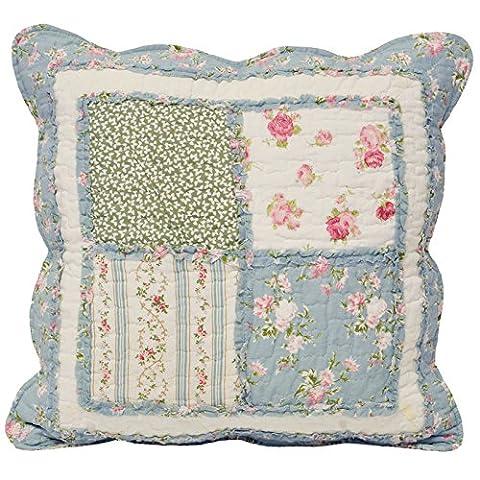 matelassé Patchwork à motif Housse de coussin–100% coton, 100 % coton, Vert/bleu, 46 x 46 cm