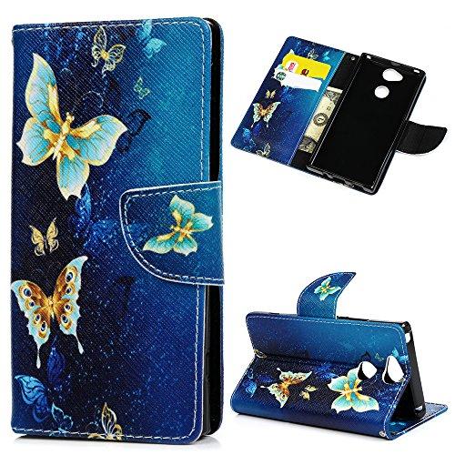 Handyhülle Case für Sony Xperia XA2 Hülle Blauer Schmetterling Muster Flip Wallet Case Cover in Bookstyle Stand Kartenetui Schutzhülle PU Leder Hardcase Tasche mit Karteneinschub und Magnetverschluß