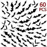 Heekpek® 60 Piezas Murciélago 3D Pegatina de Pares Murciélago Negro Adornos de Pared Fiesta de Halloween Decoración de Ventana Hogar
