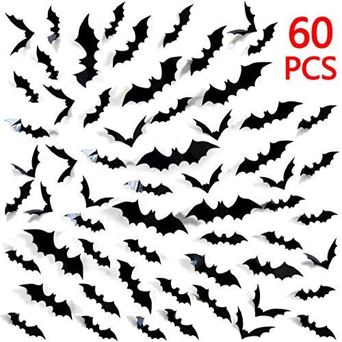 Heekpek® 60 Stück 3D Fledermäuse Halloween Zubehör Kit, Halloween Party Zubehör für Haus Fenster Wanddekoration