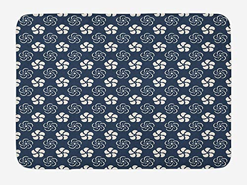 ZKHTO Geometric Bath Mat, Monochrome Floral Arrangement Pinwheel Inspired Design Abstract Natural, Plush Bathroom Decor Mat with Non Slip Backing, 23.6 W X 15.7 W Inches, Dark Blue Cream -