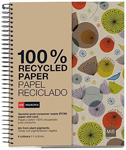 Miquelrius - Cuaderno Ecobirds A4, 120 hojas (franjas de 4 colores), papel...