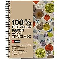 Miquelrius - Cuaderno Ecobirds A4, 120 hojas (franjas de 4 colores), papel reciclado, cuadrícula 5 mm, Tapa de cartón reciclado