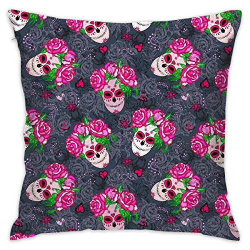 Pink Rose Flower Day of The Dead Sugar Skull Throw Pillow Cases Square Cushion Cover for Sofa Decorative Office Chairs Home Decorative 18x18 Pillowcase (Werfen Eines Baby-halloween-party)