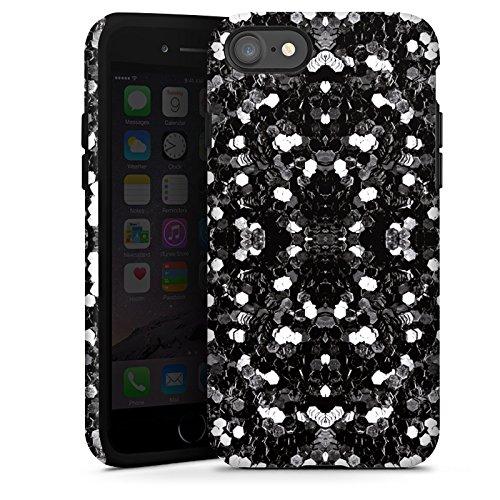Apple iPhone X Silikon Hülle Case Schutzhülle Glitzer Silber Muster Tough Case glänzend