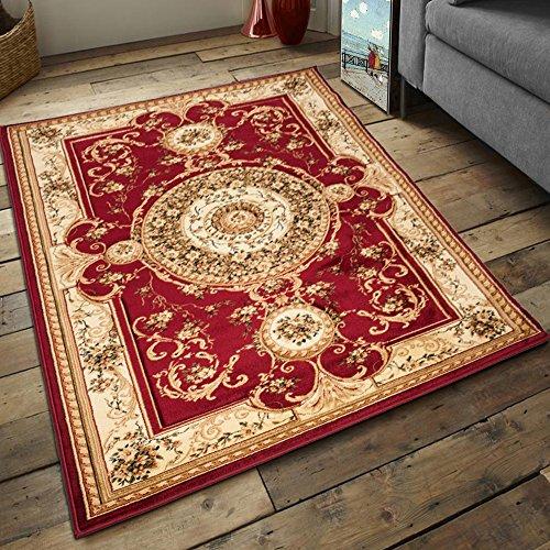 Carpeto Teppich Klassisch Orientalisch Muster Kreis 3D-Effekt Konturenschnitt Meliert in Rot, Sehr Dicht Gewebt, ÖKO Tex (160 x 220 cm) -