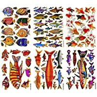Fish004 - 6 Sheets of Scrapbook Stickers Fish, Fish Scrapbook Stickers, Farm Animal Stickers - Animal Scrapbook Stickers - Reflective Stickers - Animal Stickers for Kids - Size 4 X 5.25 Inch./sheet by Sticker108