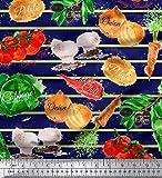 Soimoi Blau Baumwoll-Voile Stoff Streifen und gemischtes