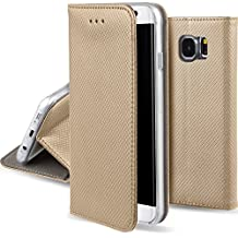 Funda Samsung Galaxy S6 Dorado - Flip cover Smart magnética de Moozy® con Stand plegable y soporte de silicona