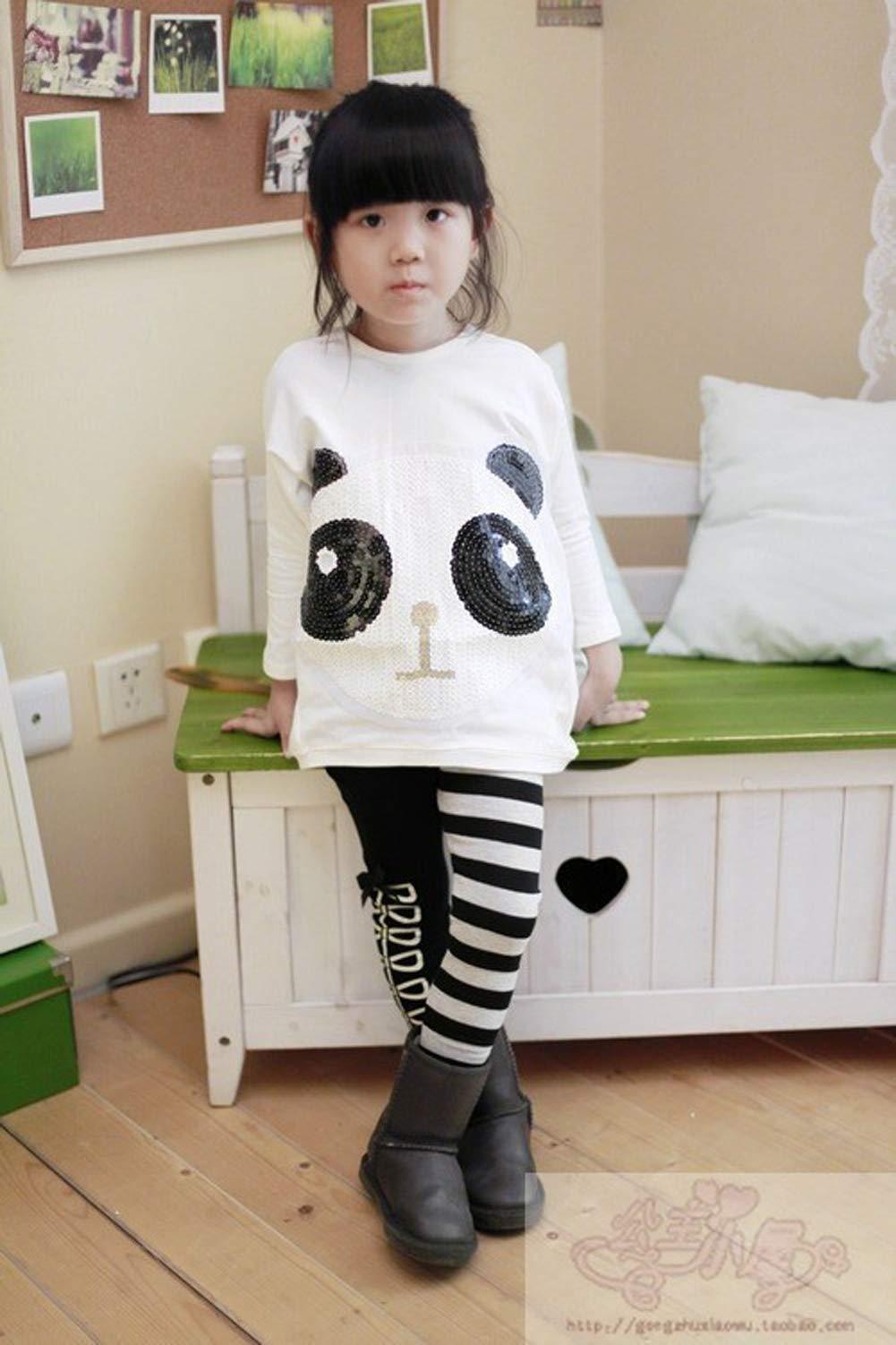 Chidlren - Conjunto de 2 Piezas de Ropa de otoño para niñas con Mangas largas y Pantalones a Rayas 2