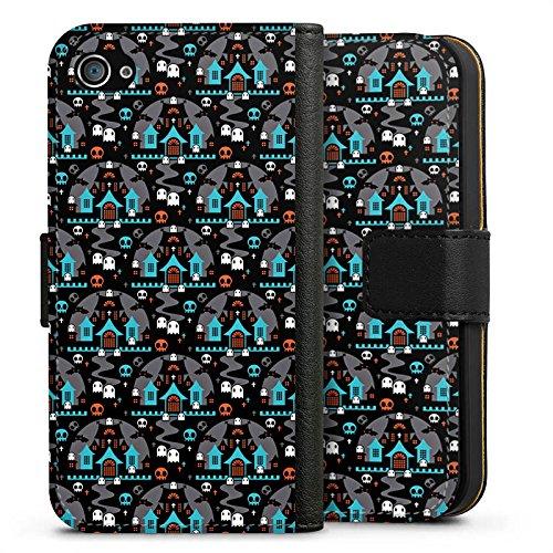 Apple iPhone X Silikon Hülle Case Schutzhülle Häuser Geister Nacht Sideflip Tasche schwarz