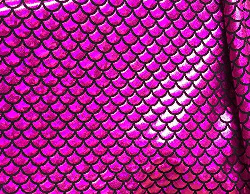 Jersey sirène Échelle Tissu Poisson Tale Foil Spandex Lycra Tissu élastique 2 directions - 150 cm de large - 7 couleurs (vendu au mètre) (Rose et Noir)