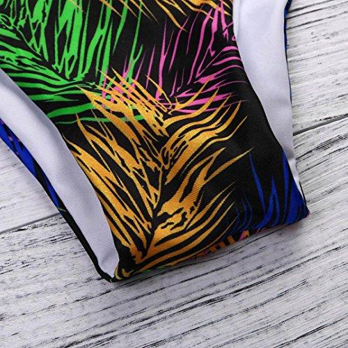 Maillot de Bain Femme 2 Pieces ❤ Femme Floral Bikini Set Push-Up Rembourré Maillots Black
