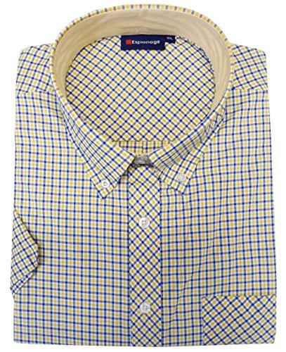 ESPIONAGE Baumwollemischung Kurzärmliges Kariertes Hemd (177) größen 2XL bis 8XL, 6 Farben Optionen Rot/Schwarz